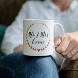 Mug Set In Gold Silver Bronze Copper Or Rose Gold - Personalised Heart Wreath - Ideal Milestone Anniversary Gift