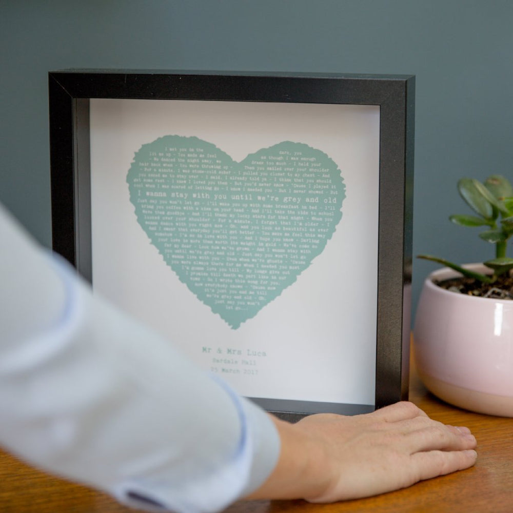 Favourite song in vintage heart framed print