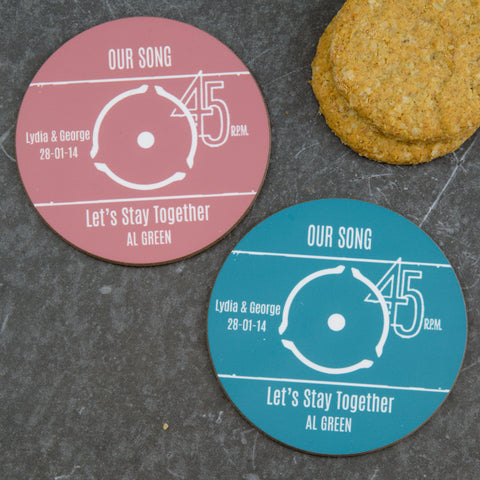 Vinyl Record Label Coaster Set - Personalised Gift - Pack of 2 or 4