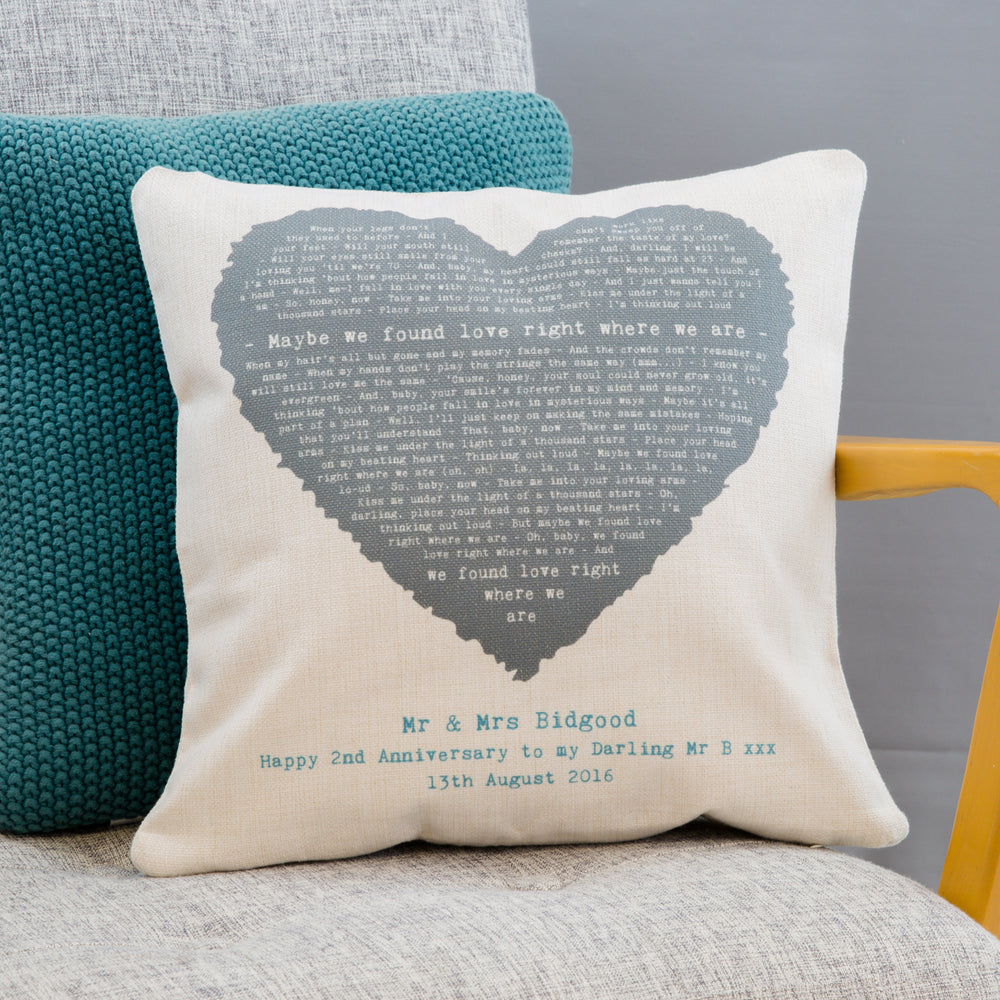 Song Lyrics Cushion Romantic Vintage Heart 2nd Anniversary Gift