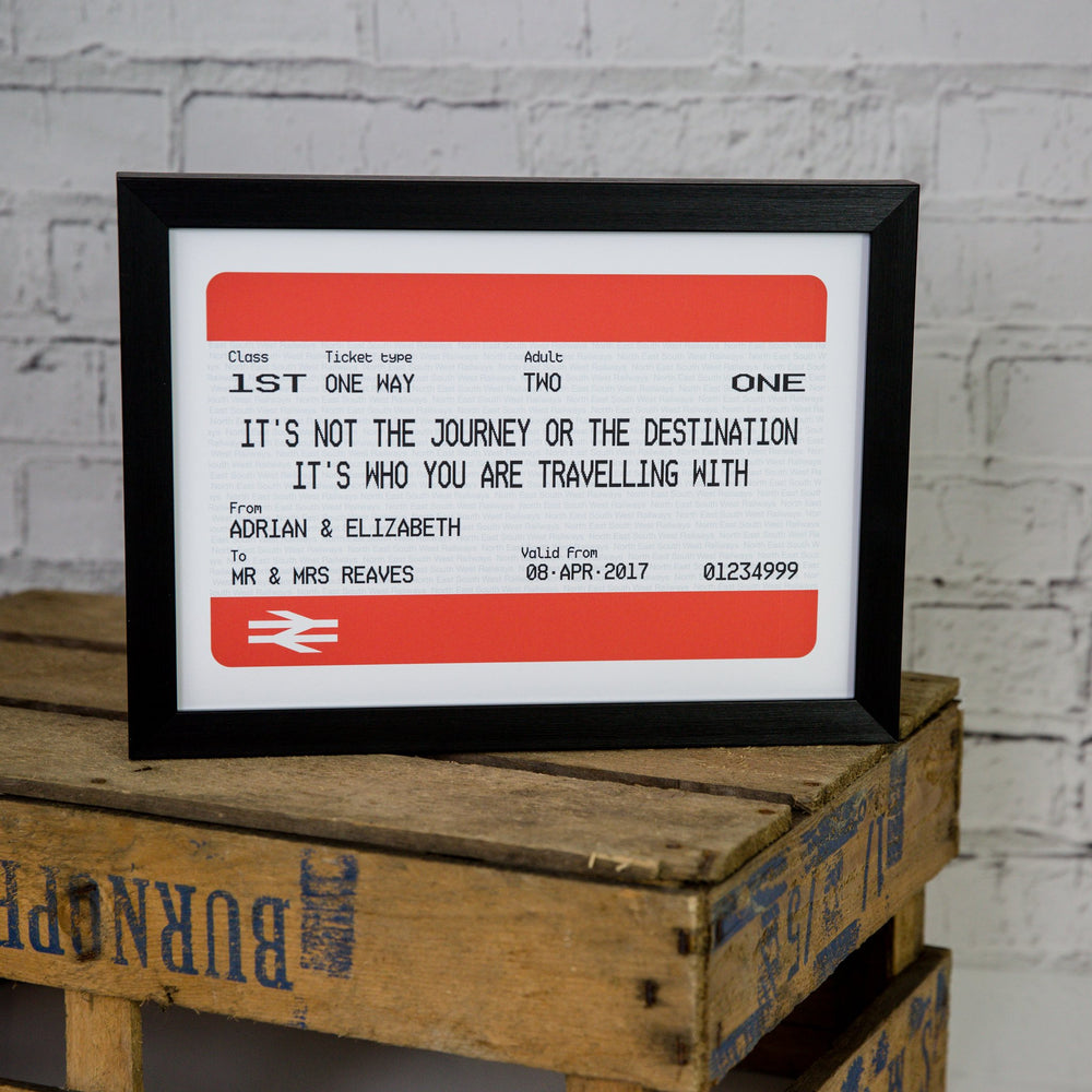 Personalised Rail Ticket Print FRAMED | British Rail Gift Anniversary Wedding