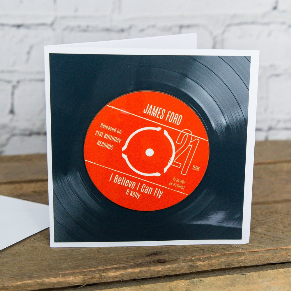 Personalised 21st Birthday Greetings Card Optional Coaster - With Number 1 Single Day Born Or Favourite Song