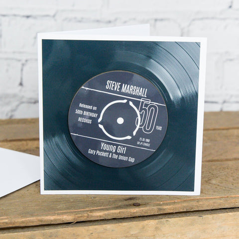 Personalised 50th Birthday Greetings Card Optional Coaster - With Number 1 Single Day Born Or Favourite Song