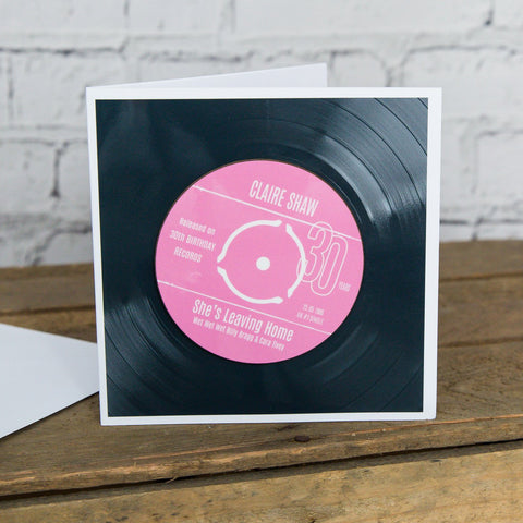Personalised 30th Birthday Greetings Card Optional Coaster - With Number 1 Single Day Born Or Favourite Song
