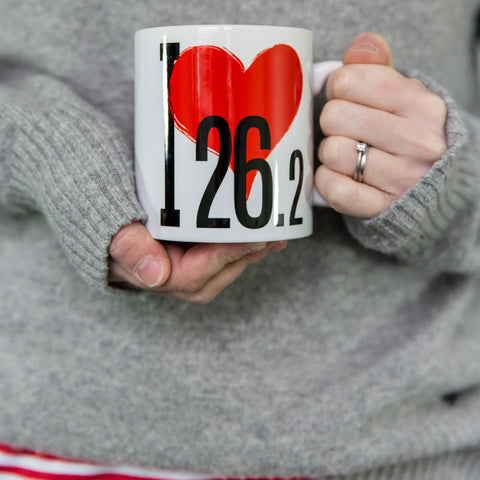 I Love 26.2 - Fun Gift For Runner - Marathon Mug (or 13.1, 10k, 42km ...)