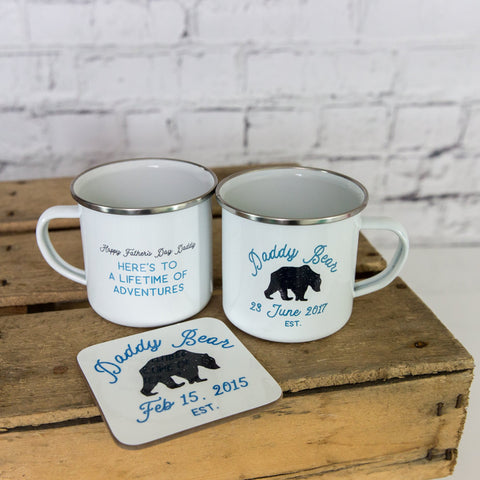 Daddy Bear Enamel Mug Personalised Father's Day Gift for Papa Dad