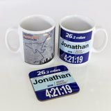 Manchester Marathon Finishers Gift Set - Mug & Coaster Set - Personalised Race Number
