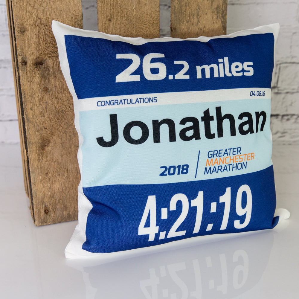 Marathon Number Personalised Cushion Pillow - Manchester