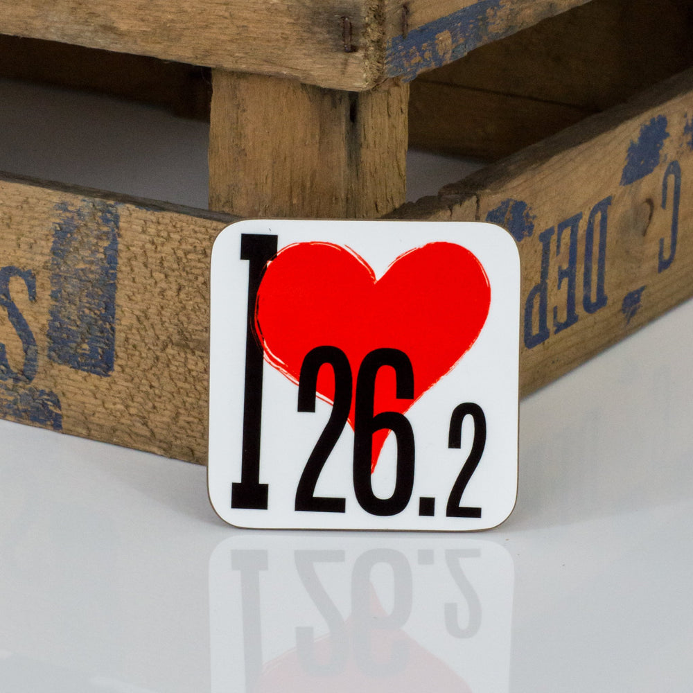 I Love 26.2 - Fun Gift For Runner - Marathon Runner Coaster (or 10k, 13.1, 42km half marathon)