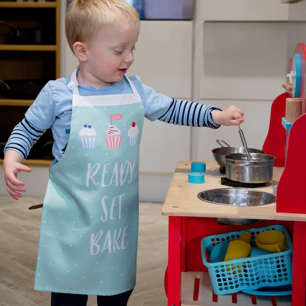 Grandchild Or Kids Gift - Ready Set Bake Personalised Apron - Child's Birthday Or Christmas Present