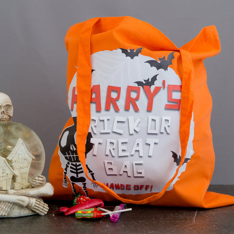 Personalised Halloween Trick Or Treat Bag - Skeleton Design - Kids Gift