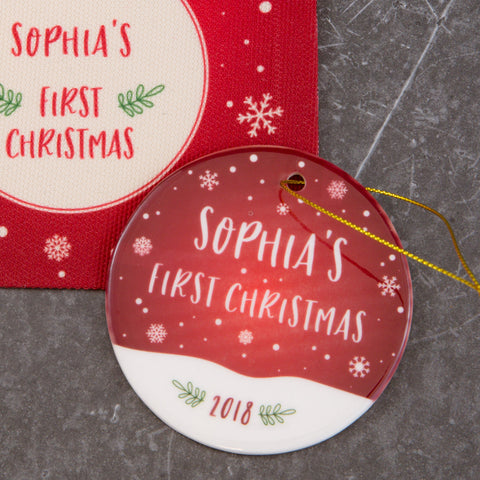 Baby's First Christmas Gift - Personalised Bauble And Presentation Bag - Newborn Baby Christening Present