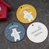Family Christmas Gift Set - Customised Dancing Polar Bear Bauble Set Personalised - For Christmas Eve Sack