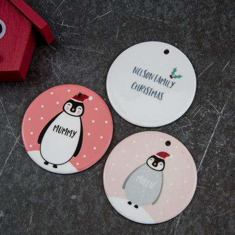 Gift Set For Family - Penguin Customised Christmas Baubles - Personalised Christmas Eve Present Idea