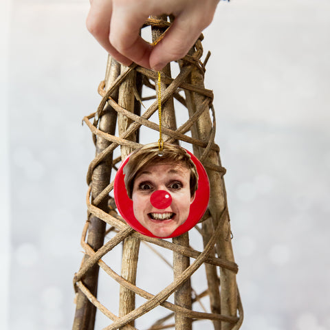 Unique Fun Christmas Decoration - Face Print From Your Photo - Ceramic Bauble Personalised With Your Head