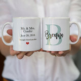 Wedding Gift Mug Set - Any Initials With Personalisation - Great For Couple For Anniversary Or Christmas