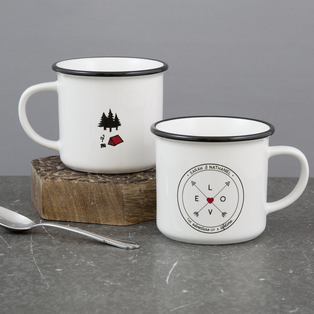 Personalised Pair Of Camping Mugs - Travel And Finding Love Themed - Ideal Gift For Wanderlust Couple