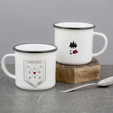 Vintage Camping Mug Pair - Adventure Crest Personalised - Wedding Or Anniversary Couple Gift