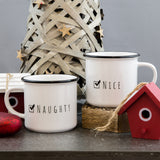 Secret Santa Gift - Naughty Or Nice Ceramic Camping Mug Retro - Christmas Gift For Wife Girlfriend Fiance