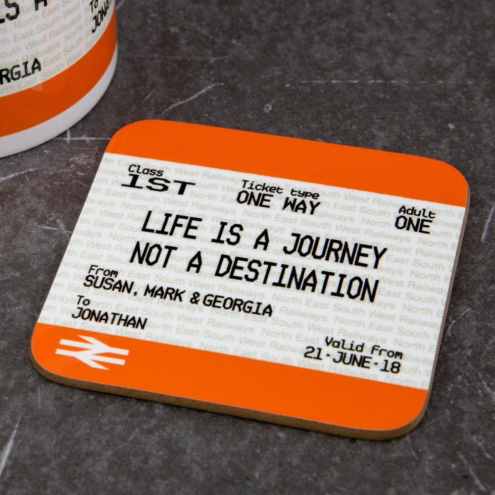 Personalised Graduation Coaster - Train Ticket Style Print Gift