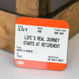 Retirement Train Ticket Mug & Coaster Gift