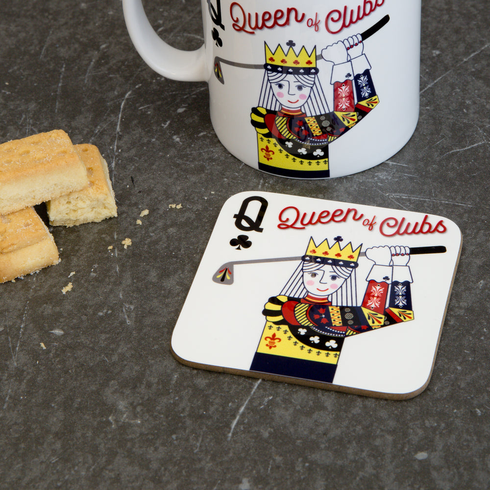 Golf Gift For Her - Queen Of Clubs Playing Card Coaster - Ladies Golf Accessory Stocking Filler
