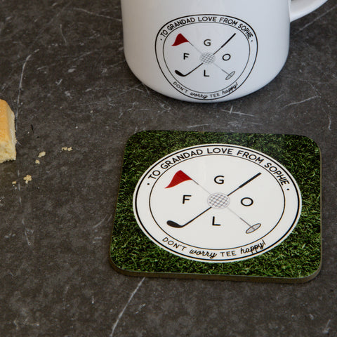Funny Coaster Gift Personalised - Golf Pun 'Don't Worry Tee Happy' Print - Golf Accessory