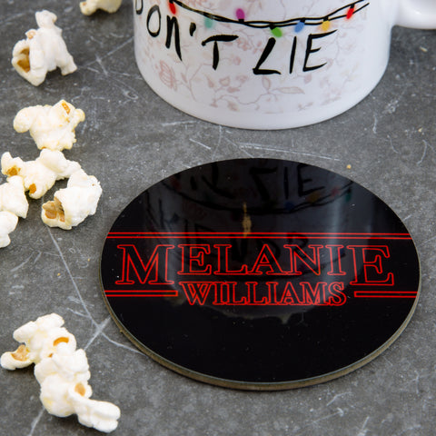 Fan Gift Coaster - Inspired By Stranger Things Titles Lights In Any Name - Secret Santa Stocking Filler