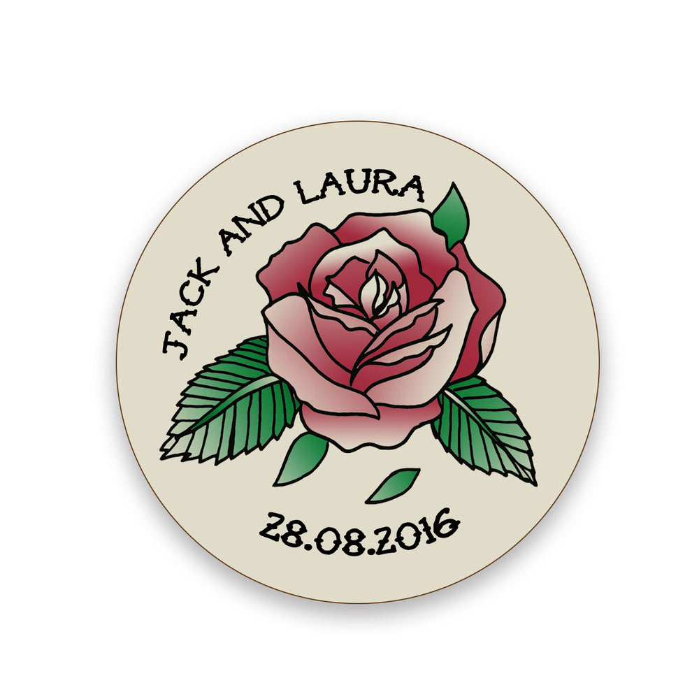 Wedding Favour Gift - Vintage Rose Tattoo Illustration Coaster Personalised - Anniversary Present