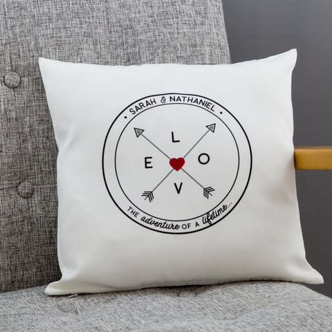 Travel Inspired Gift - Love Compass Cushion Personalised With Names - Ideal For Wedding Or New Home