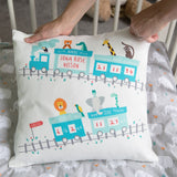 Newborn Baby Announcement Cushion - Jungle Animals On Train Cute Nursery Picture - Christening Gift