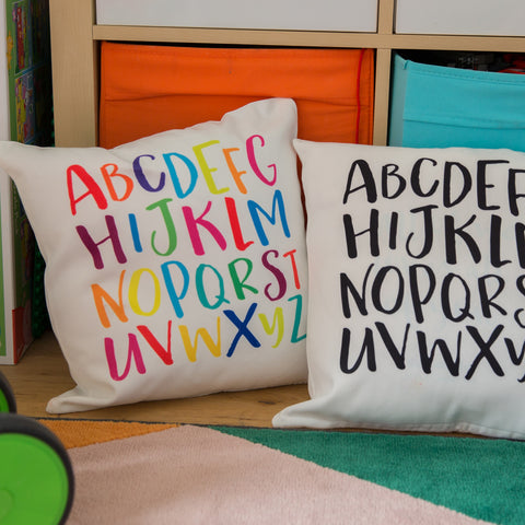 Accessory For Childrens Nursery Or Playroom - Alphabet Cushion Print A-Z - Monotone Kids Bedroom