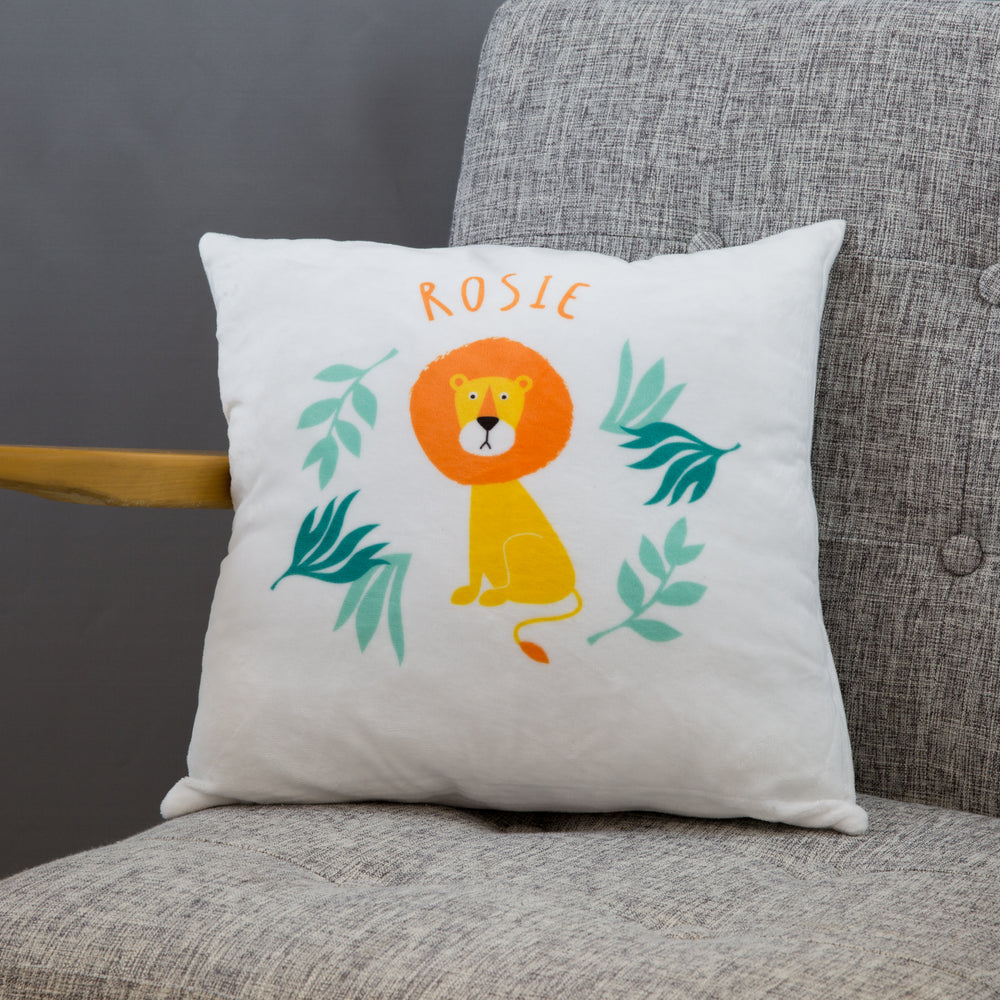 Lion Cushion Prit For Chidrens Nursery - Kids Personalised Cushion - Ideal Newborn Baby Present