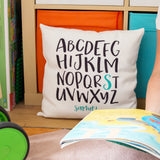 Monotone Kids Bedroom Modern Nursery Accessory - A-Z Alphabet Cushion Print Personalised - New Baby Gift