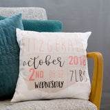 Newborn Baby Present - Customised Baby Weight Date Name Birth Announcment Cushion - Nursery Décor Idea