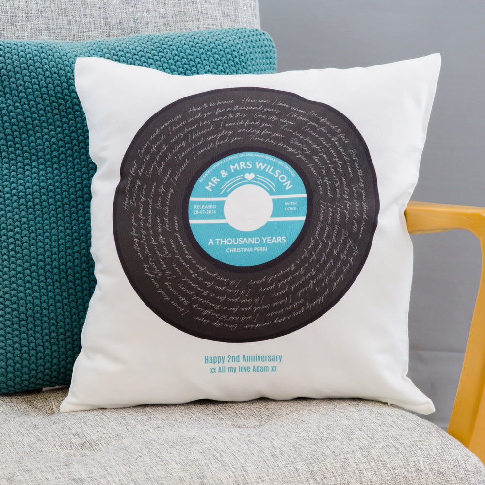 Any Song Lyrics 2nd Anniversary Gift - Vinyl Record With Personalised Label - Cotton Feel Cushion Print