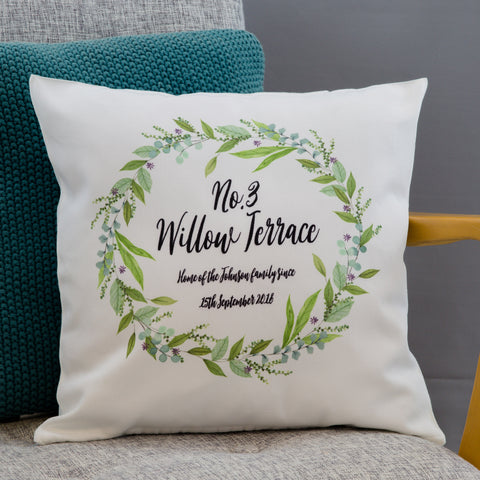 New Home Gift - Personalised House Number Cushion Floral Cottage Themed - Or Customise For Wedding