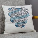 Personalised Wedding Gift - A Dozen Roses Botanicals Cushion - For 4th Anniversary Or Valentine's Day
