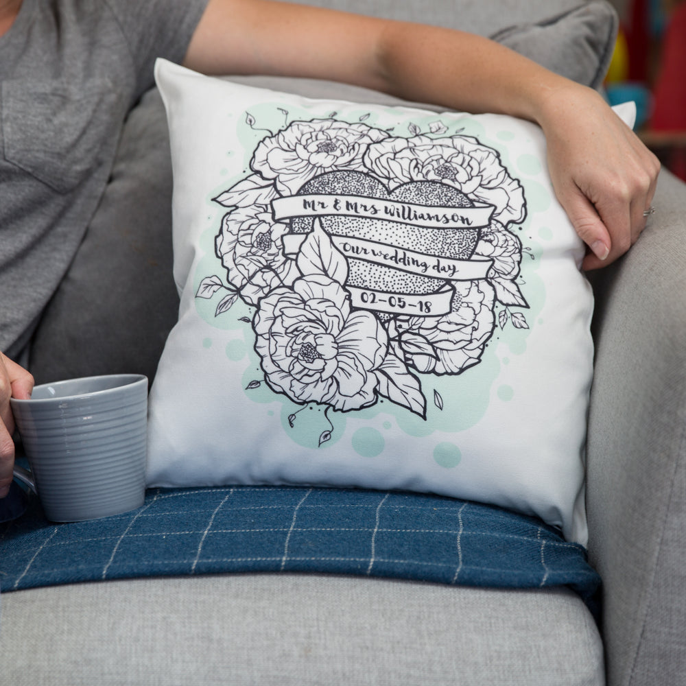 Flowers 4th Anniversary Present - Peonies In Bloom Around Heart Cushion - Ideal Gift For Wife