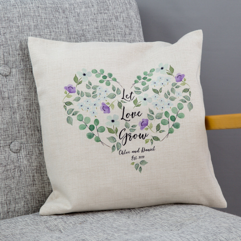 Flowers 4th Anniversary Present - Watercolour Floral Print Cushion Personalised - Wedding Gift