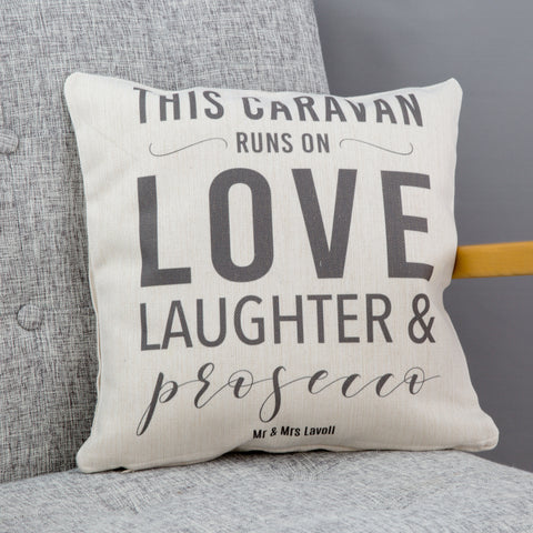 New Home Gift - This Home Runs On Cushion - Personalised To Any Family Favourites For Mum Or Wife
