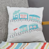 Newborn New Baby Gift - Birth Announcement Train Personalised Cushion - 1st Birthday Or Christening Present