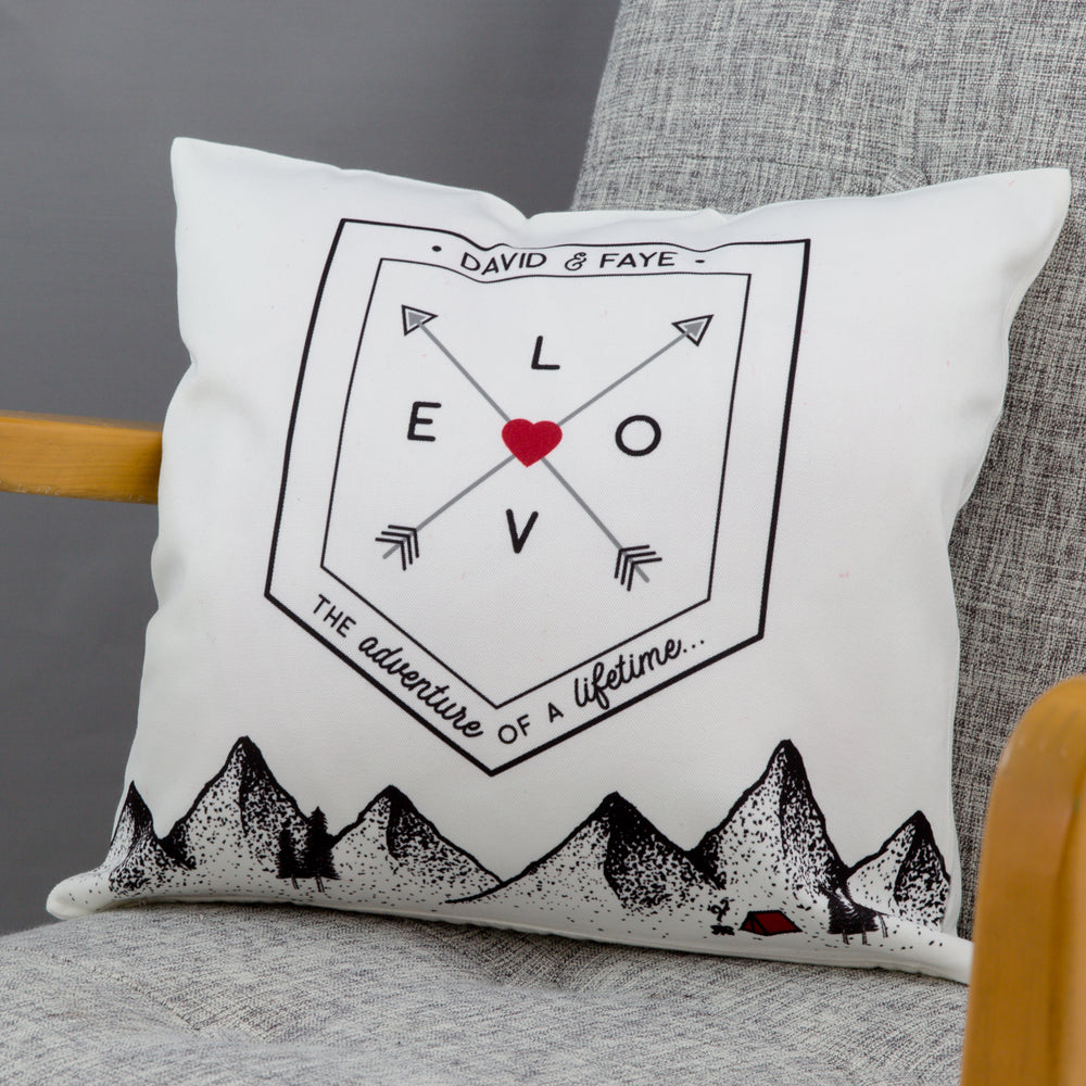 Couple's New Home Present - Outdoor Adventure Scene And Love Flag Personalised - 2nd Cotton Anniversary
