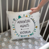 New Baby Gift - Adventure Awaits Personalised Cushion - Ideal Toddler Birthday Present