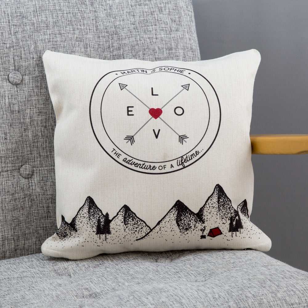 Adventure Themed Homeware - Mountain Scene Cushion Personalised Wanderlust Print - 2nd Anniversary Gift