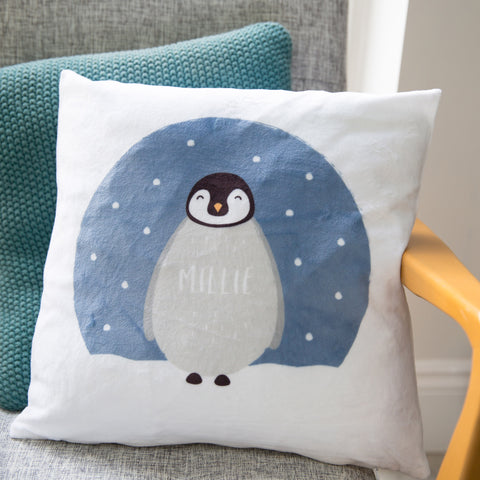 Fluffy penguin cushion - stunning personalised pillow for nursery - new baby nursing chair gift