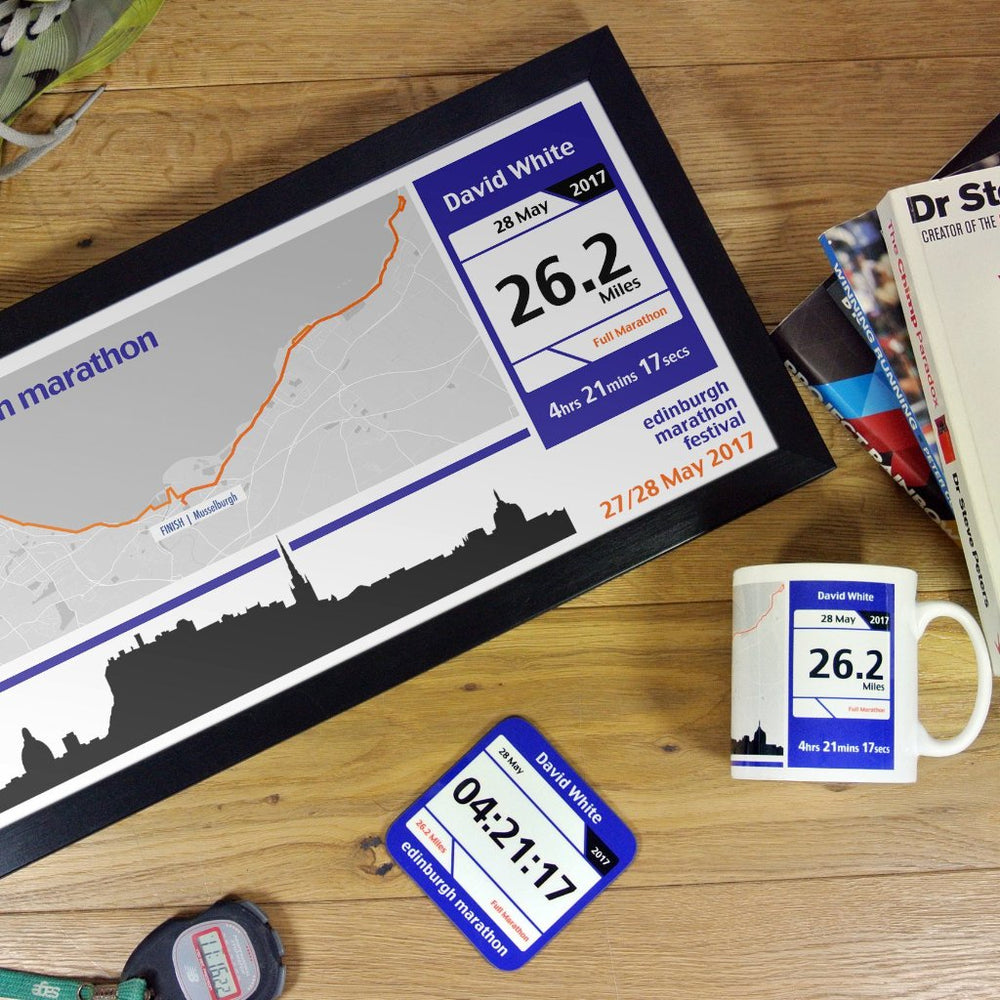 Edinburgh Marathon Results 2018 Finishers Gifts - Personalised Route Map Print