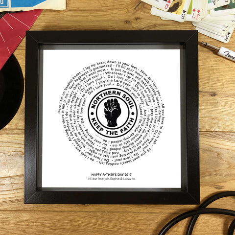Northern Soul Keep The Faith Vinyl Record Styled Framed Print