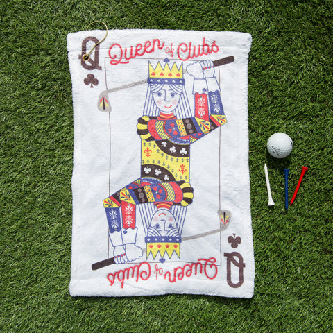 Queen Of Clubs Golf Playing Card - Personalised Golf Towel - Motivational Limited Edition Gift For Her