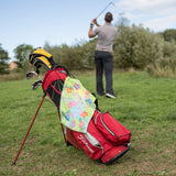Tropical Golf Wear - Flamingo Print Golf Towel Personalised With Initials - Vibrant Golf Bag Accessory